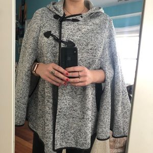 Sweaters - New Grey Poncho. With Hood. Black lining.
